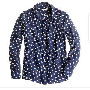 J crew silk boy shirt in French hen